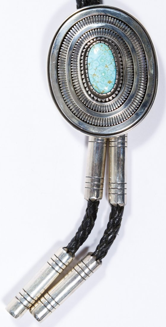 Native American Sterling Silver and Turquoise Bolo Tie - 2