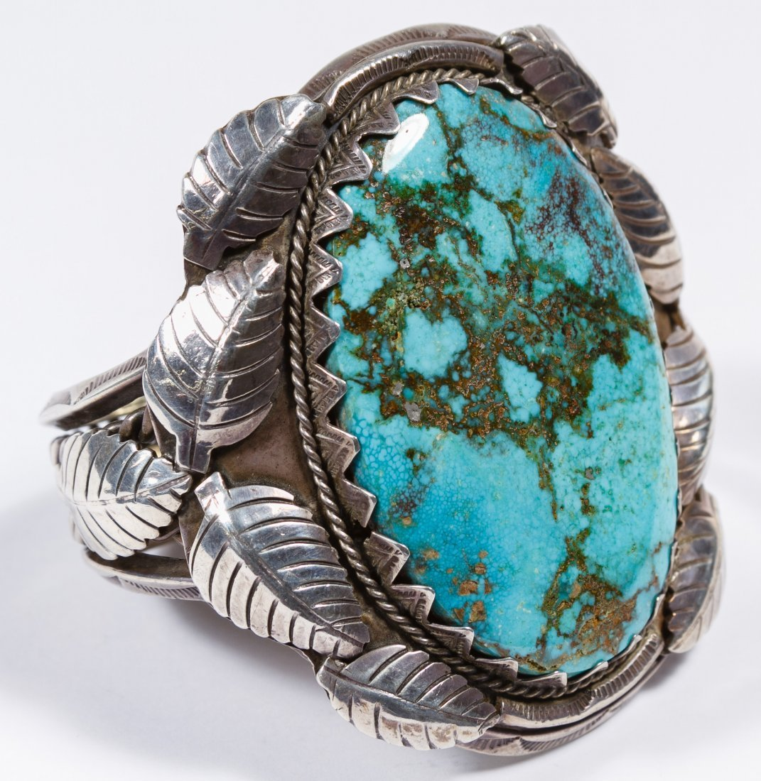 Native American Silver and Turquoise Old Pawn Cuff Brac