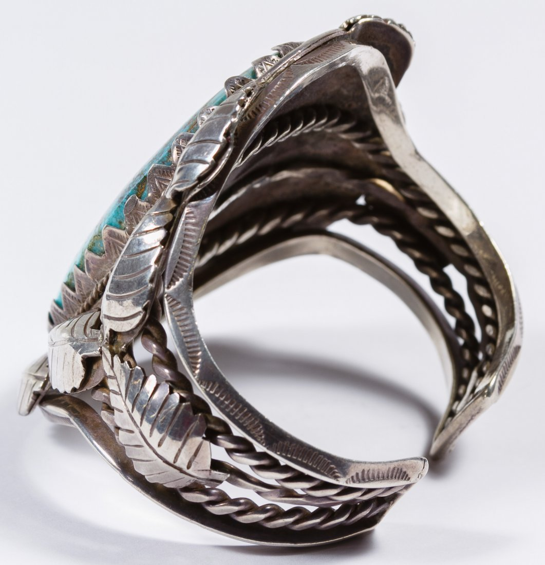 Native American Silver and Turquoise Old Pawn Cuff Brac - 2