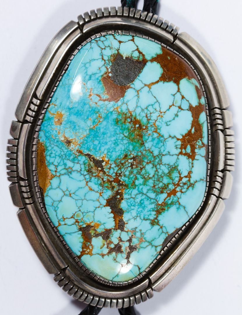 Native American Silver and Turquoise Bolo Tie - 2