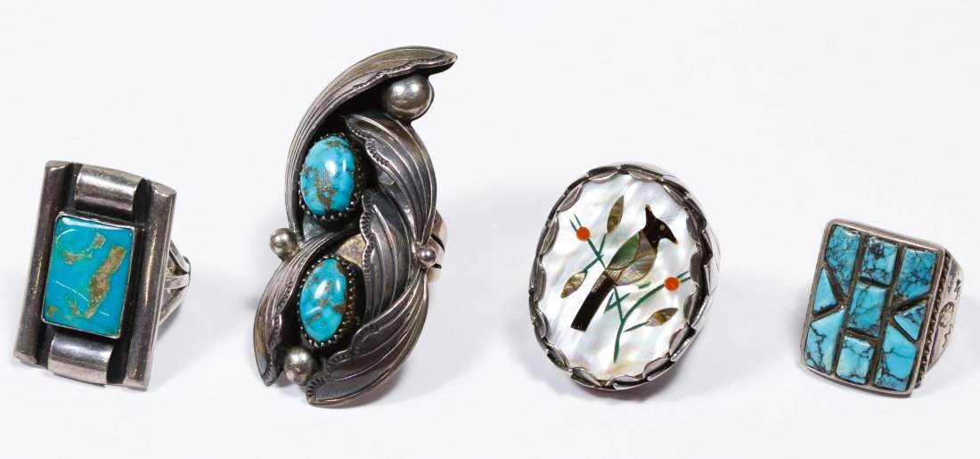 Native American Silver and Stone Ring Assortment