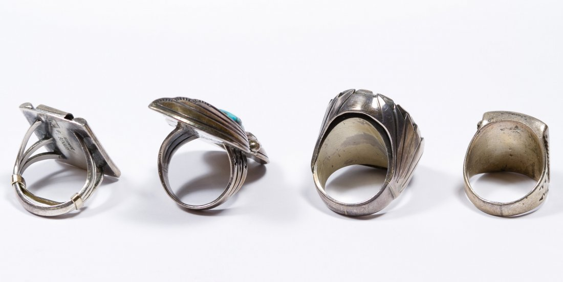 Native American Silver and Stone Ring Assortment - 2