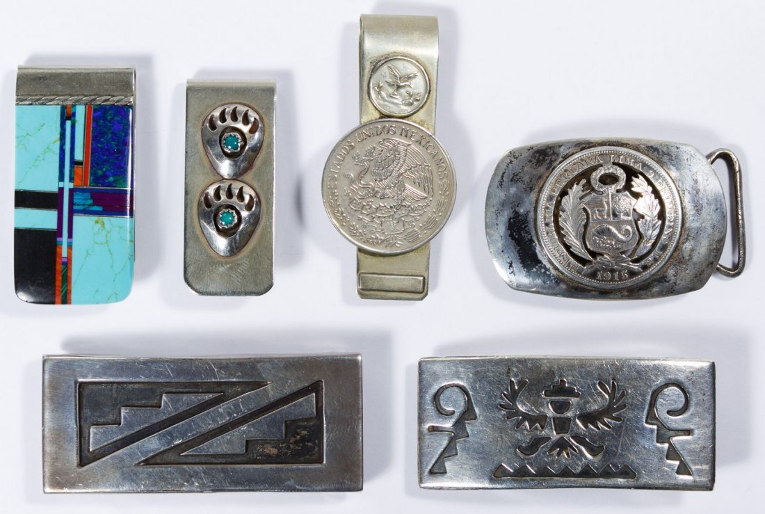 Native American Sterling Silver Belt Buckle Assortment