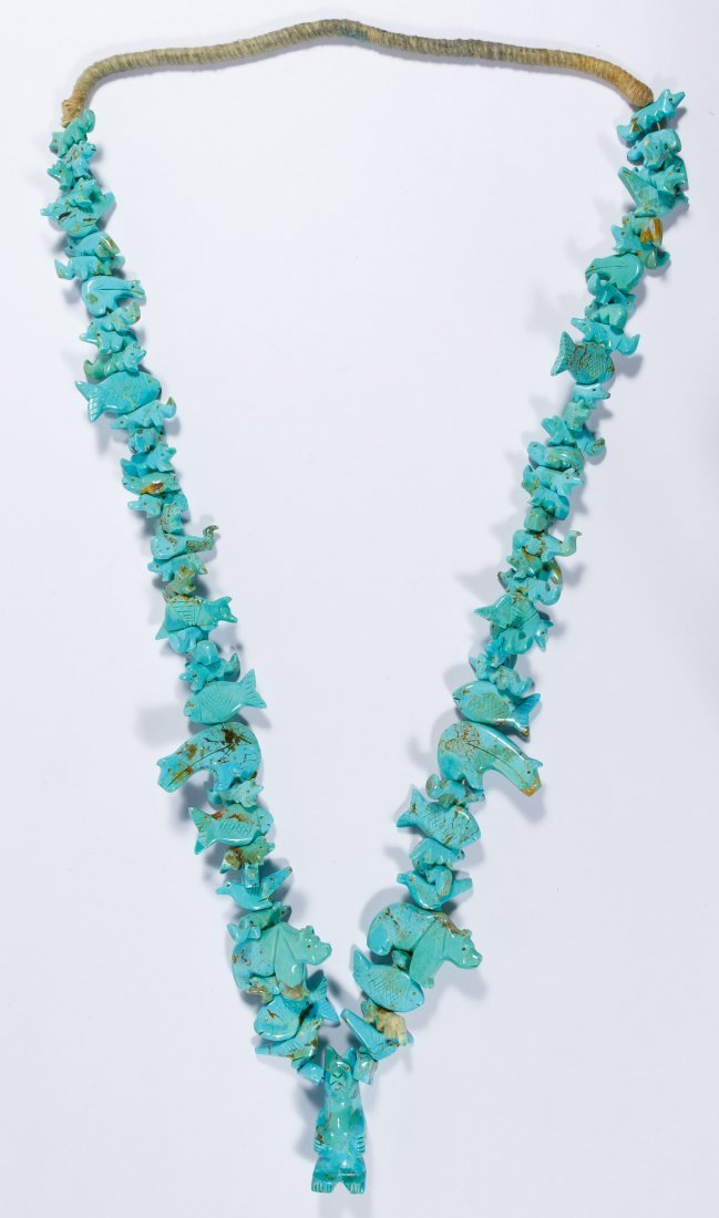 Native American Turquoise Carved Fetish Necklace