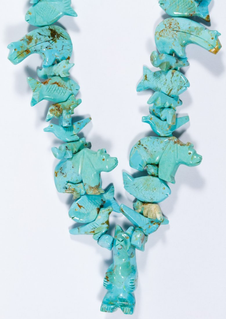 Native American Turquoise Carved Fetish Necklace - 2