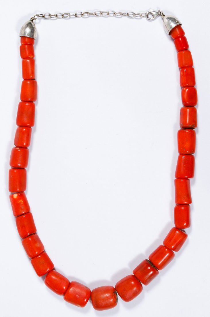 Native American Red Salmon Chunky Coral Necklace