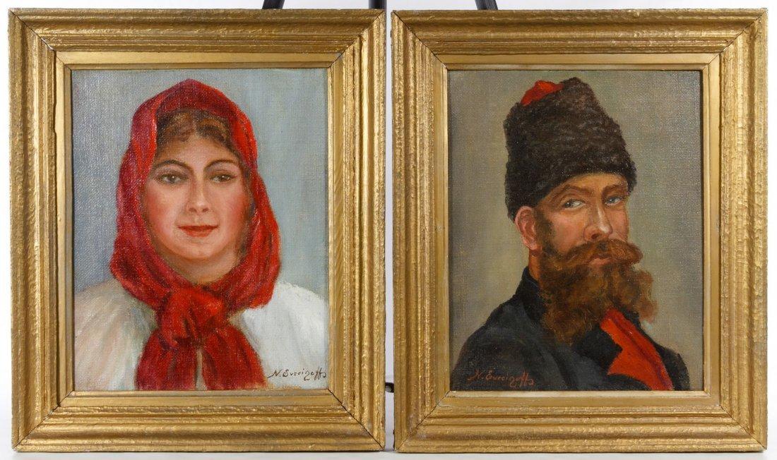 Nicolas Evreinoff (European, 1879-1953) Portraits Oil
