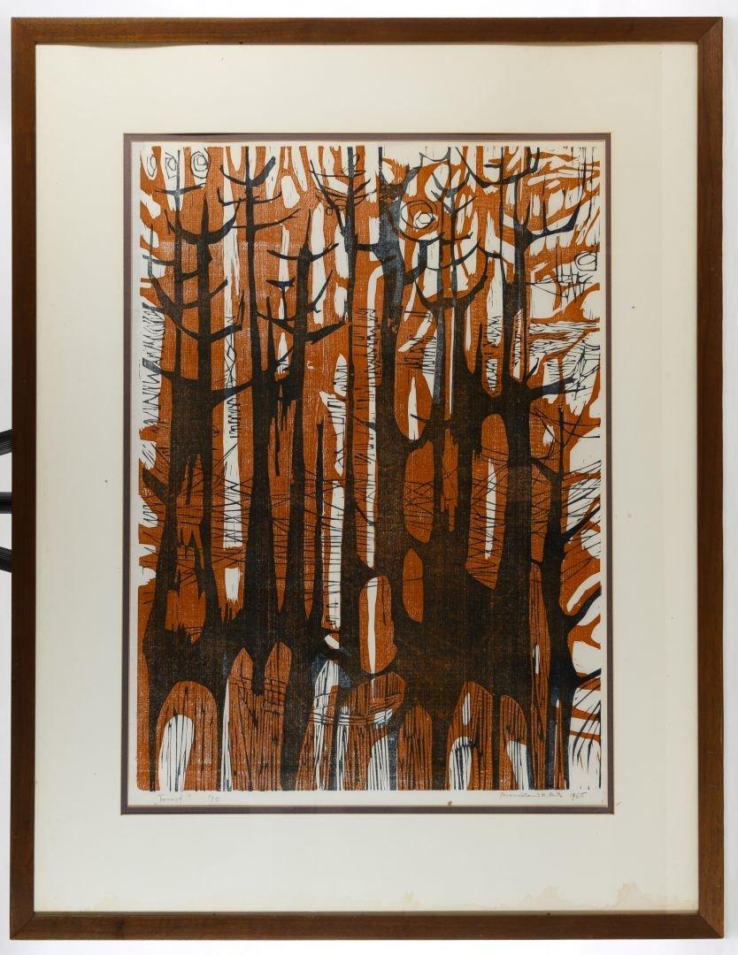 Bronislaw M Bak (Poland, 1922-1981) 'Forest' Woodblock