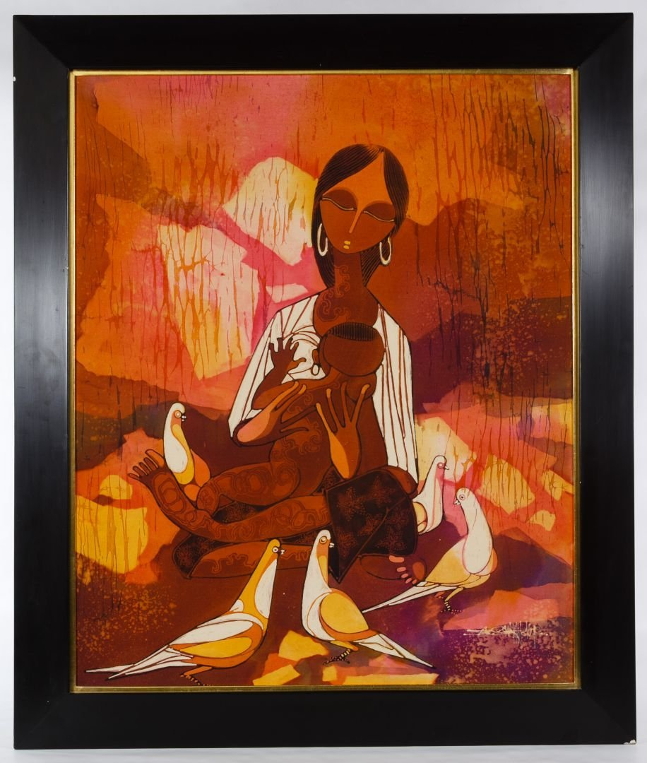 African School (20th Century) Batik Painting on Silk