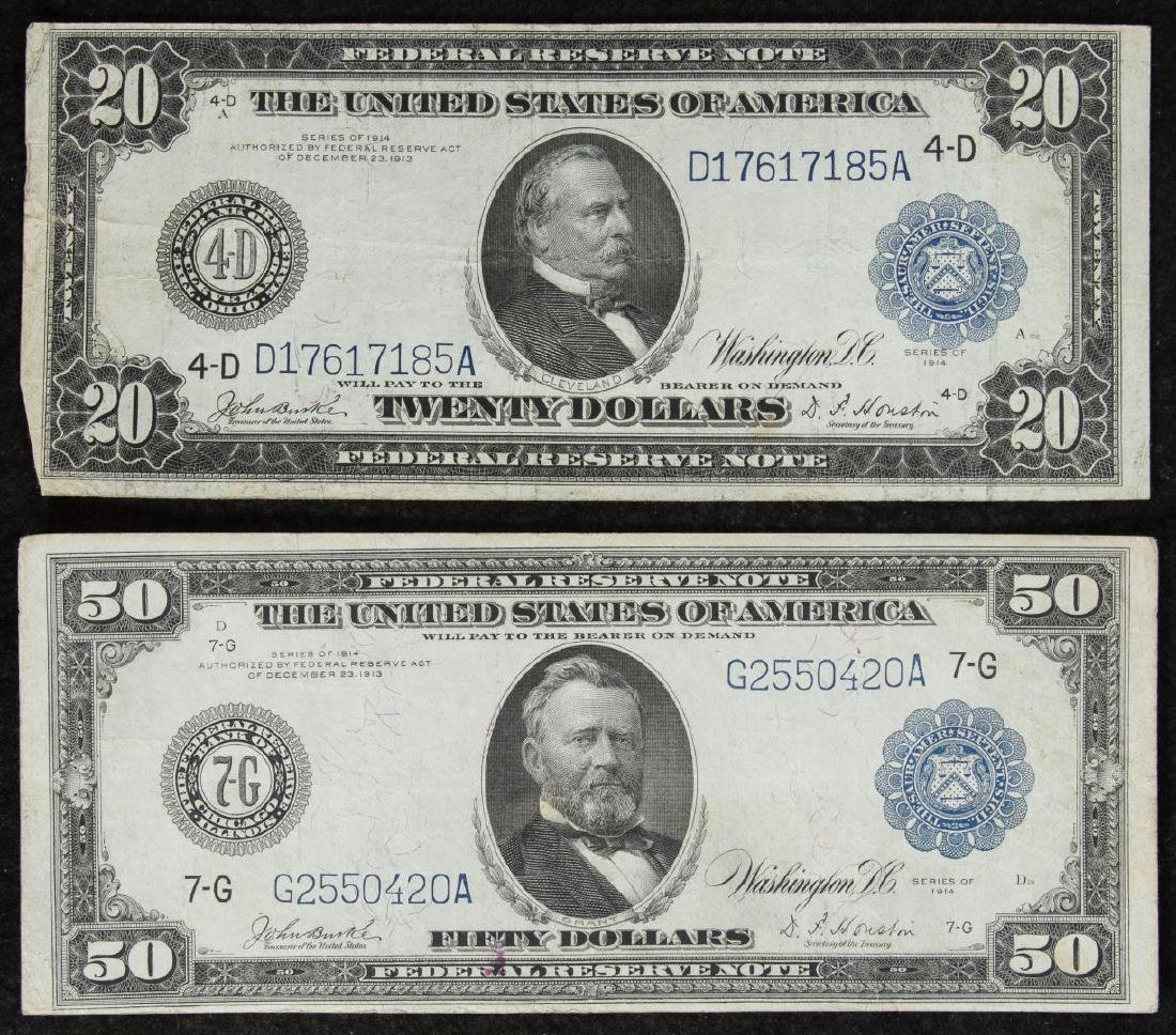 1914 $50 & $20 Federal Reserve Notes VF