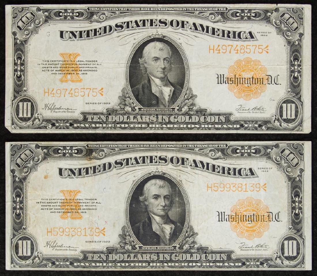 1922 $10 Gold Certificates F+