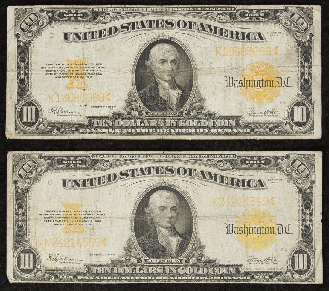 1922 $10 Gold Certificates VG/F