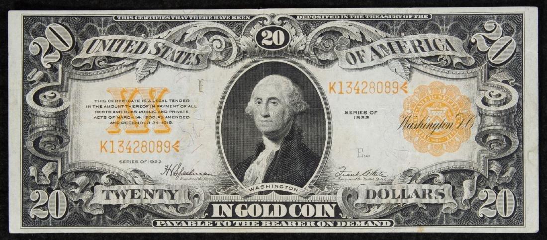 1922 $20 Gold Certificate VF