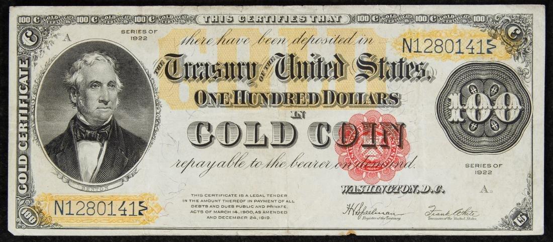 1922 $100 Gold Certificate VF
