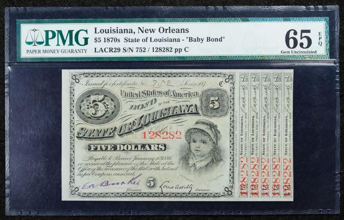 1870s $5 'Baby Bond' New Orleans GU 65 EPQ PMG