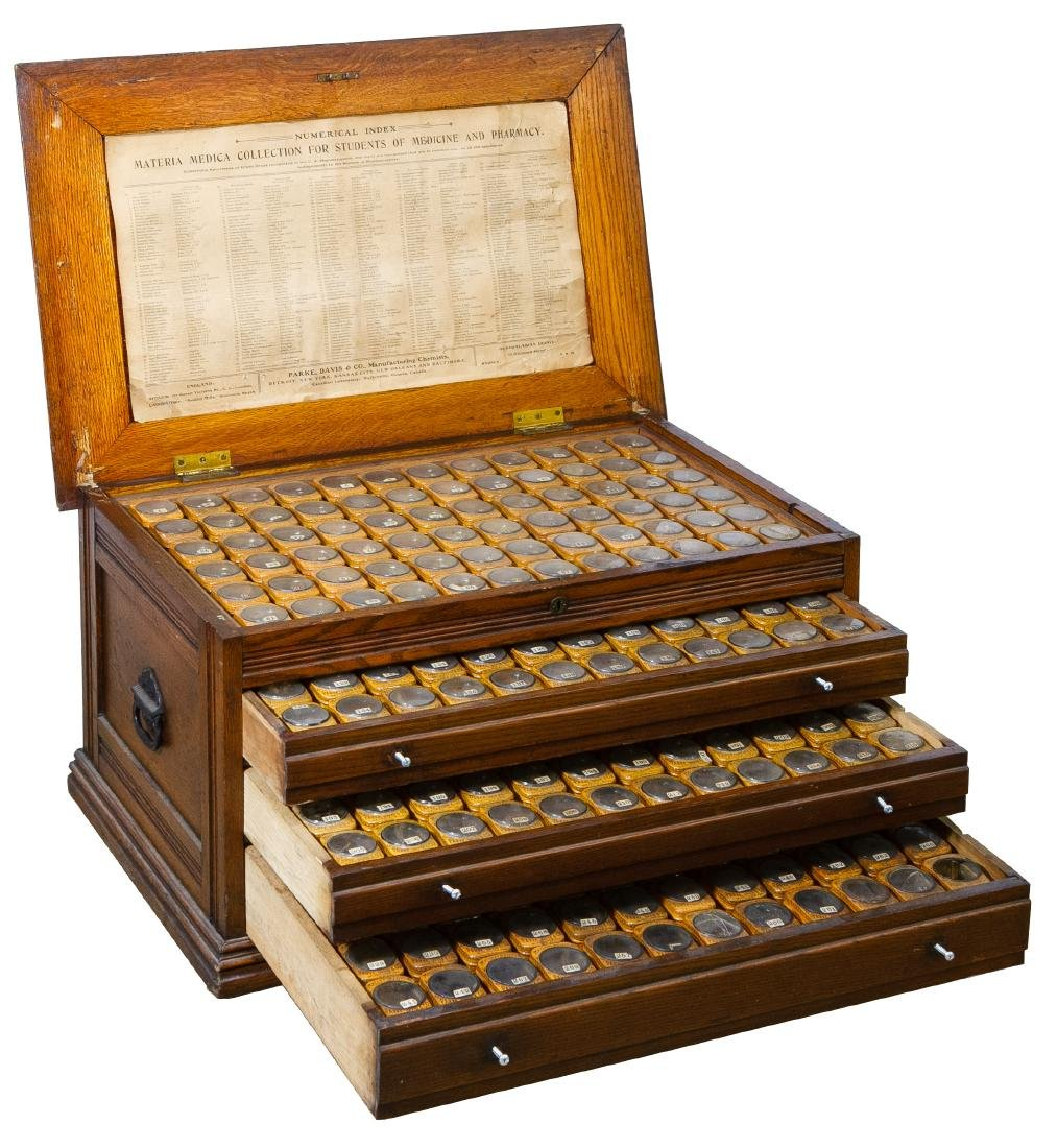 Materia Medica Collection in Oak Chest by Parke, Davis