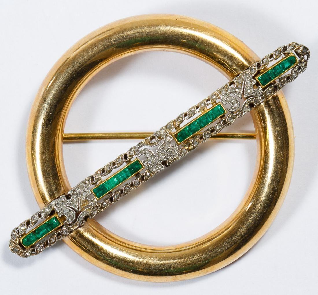 14k Gold, Emerald and Diamond Brooch Pin