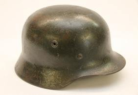 "NAZI GERMAN WWII HELMET - WITH LINER - MARKED ""B10527"""