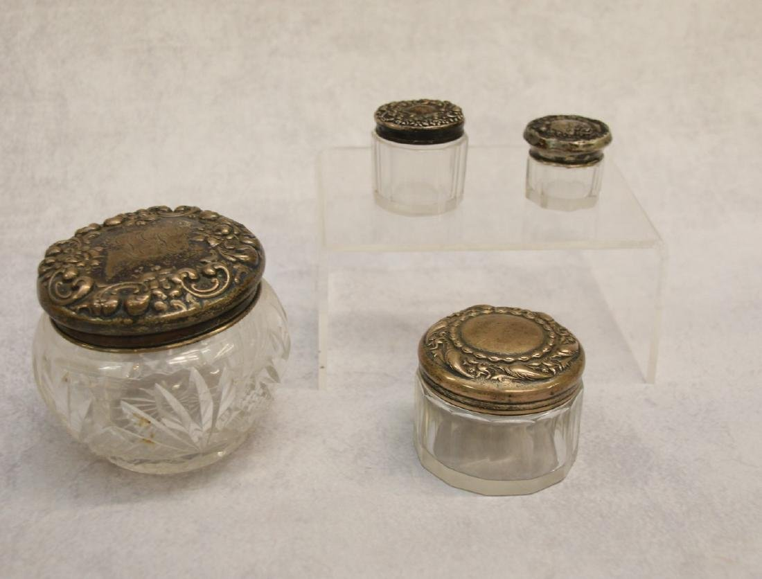 GROUP OF STERLING AND GLASS CONTAINERS