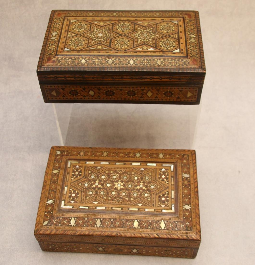 PAIR OF MARQUETRY BOXES