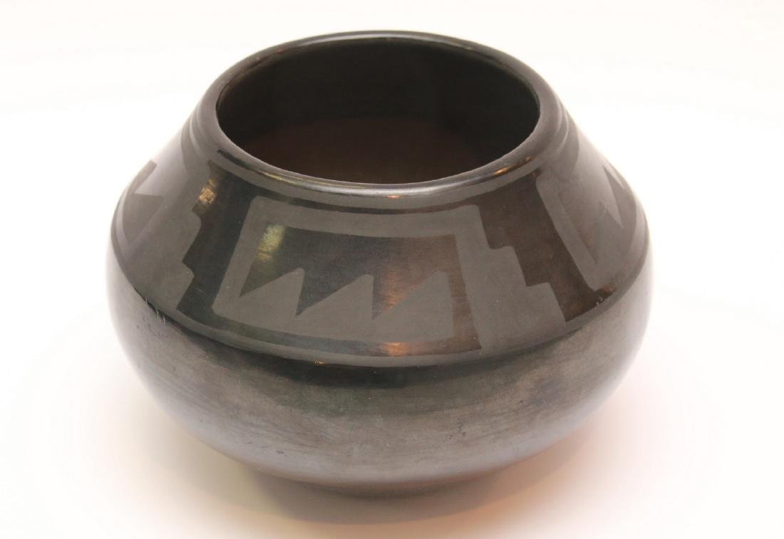 SAN ILDEFONSO PUEBLO BLACK ON BLACK POTTERY VASE