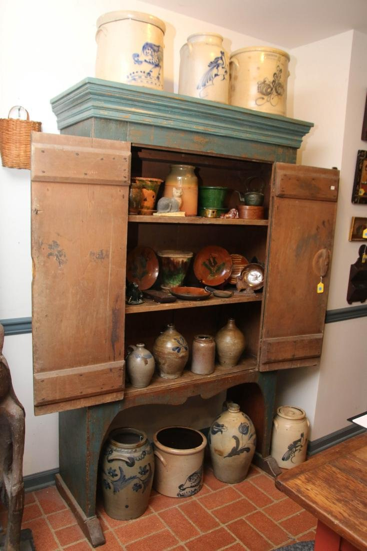 EARLY 19TH CENTURY BLUE PAINTED CUPBOARD