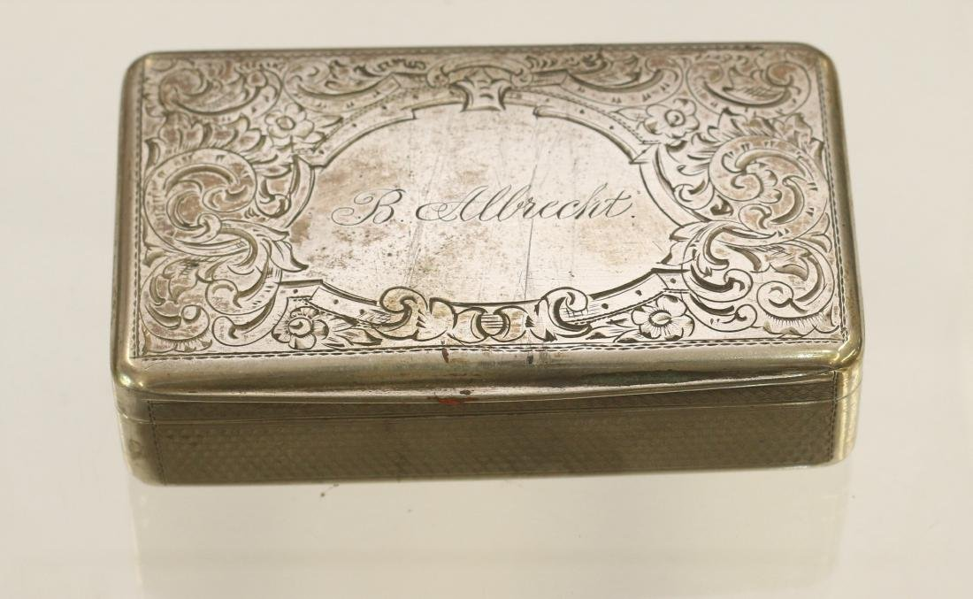 19TH CENTURY SILVER ENGRAVED BOX