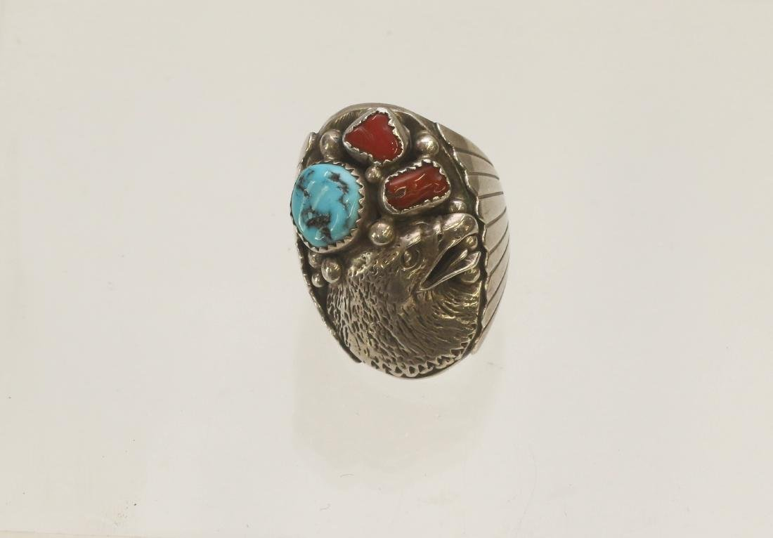 NATIVE AMERICAN STERLING RING - 2