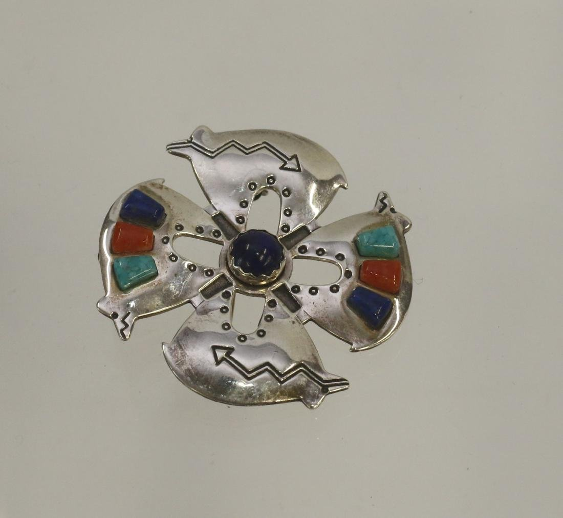 NATIVE AMERICAN STERLING BROACH AND PENDANT
