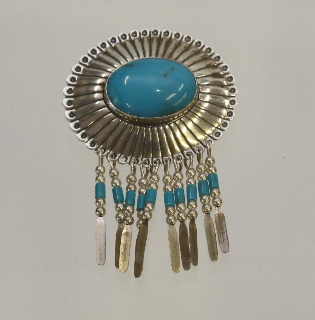 NATIVE AMERICAN STERLING PENDANT AND BROACH