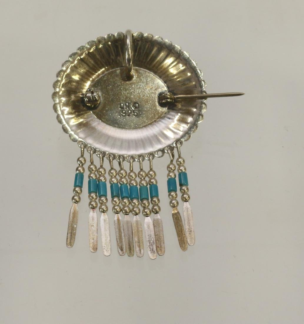 NATIVE AMERICAN STERLING PENDANT AND BROACH - 2