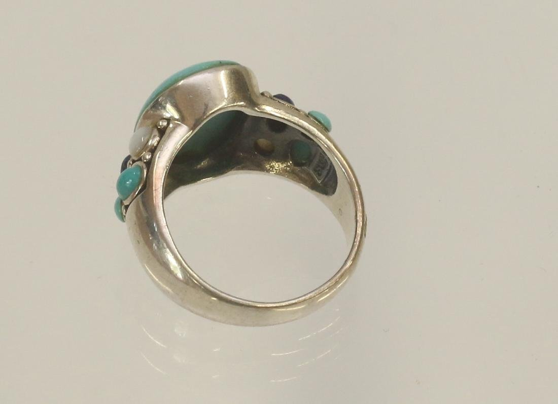 STERLING SILVER AND TURQUOISE RING - 3