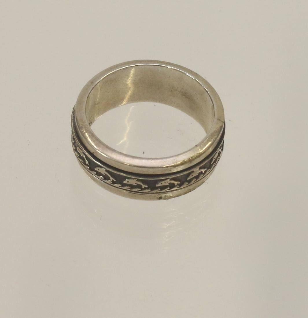 STERLING SILVER DOLPHIN RING - 2