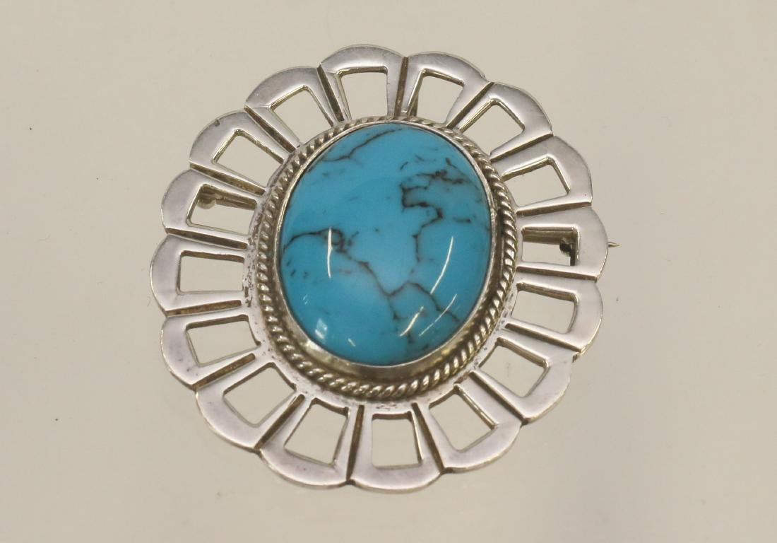 STERLING SILVER TURQUOISE BROACH