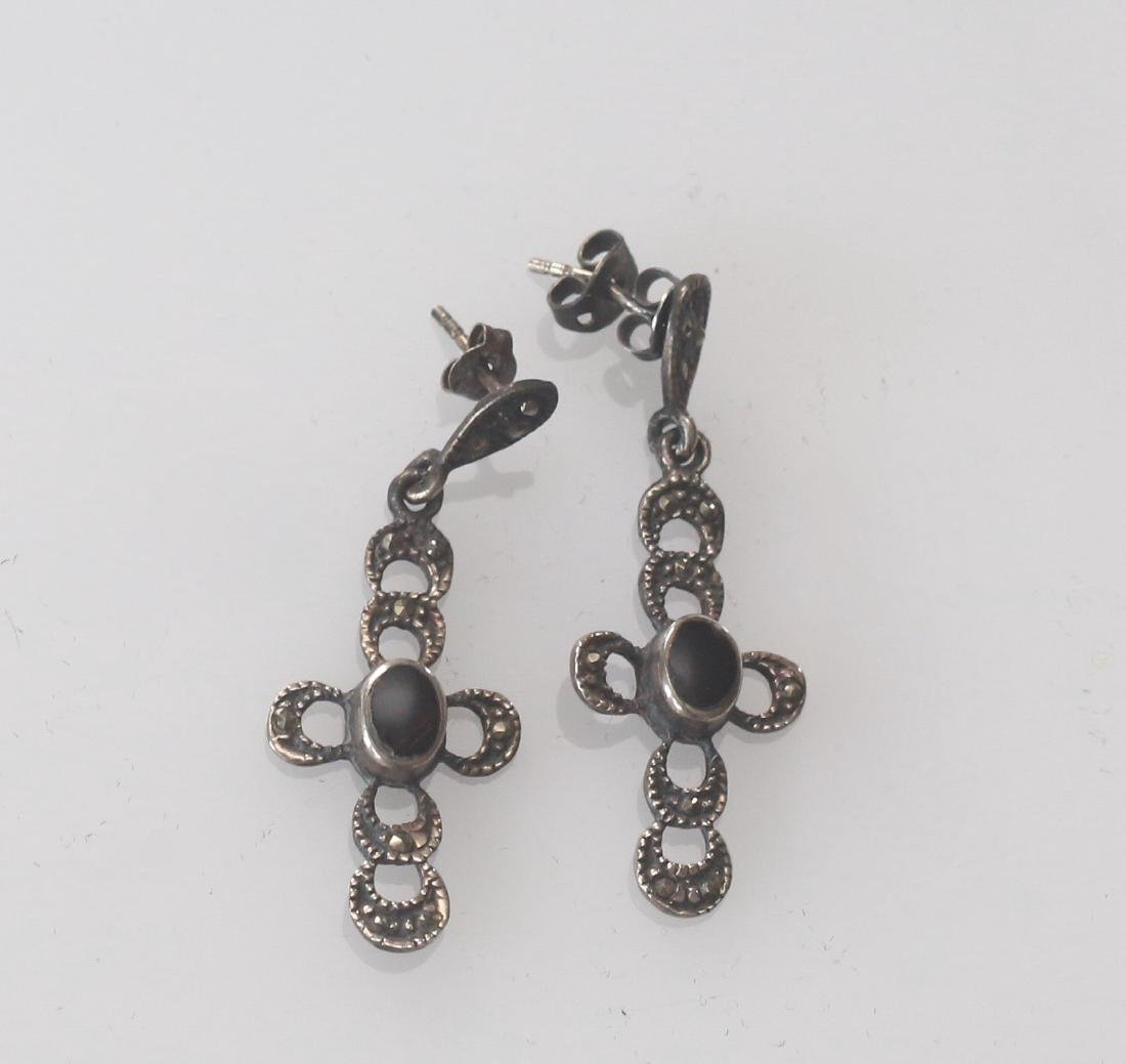 STERLING SILVER AND MARCOSITE EARRINGS