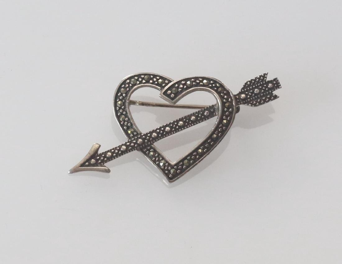 MARCOSITE AND STERLING SILVER BROACH