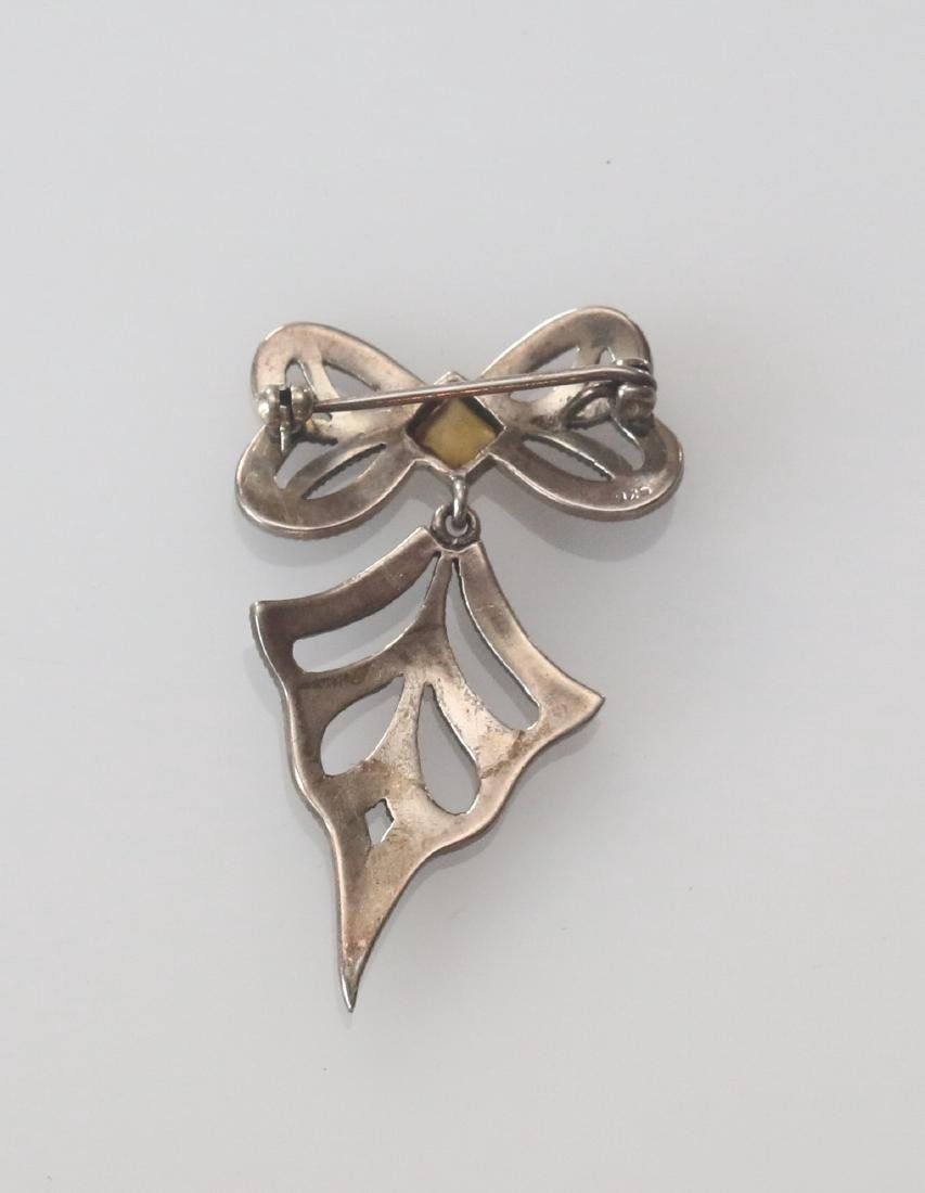 MARCOSITE AND STERLING SILVER BROACH - 2