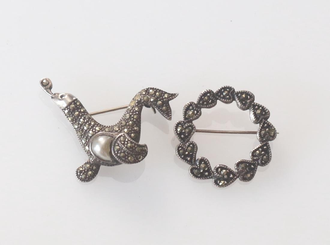 (2) MARCOSITE AND STERLING SILVER BROACHES