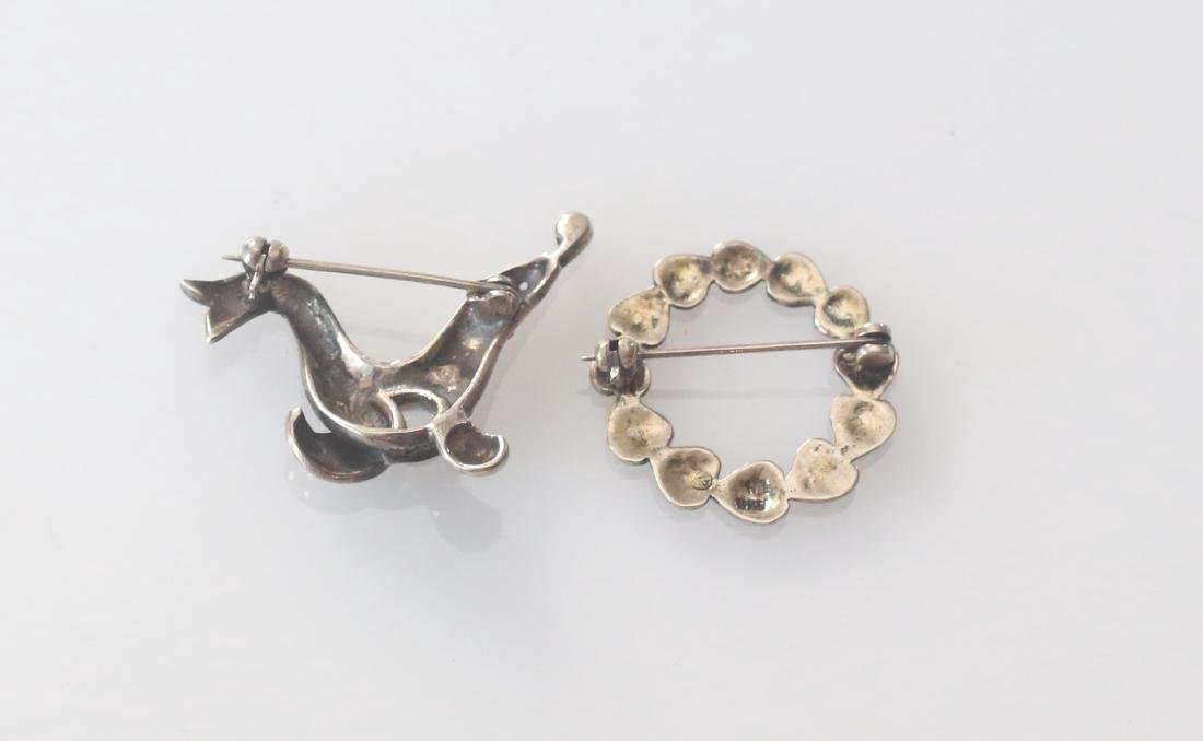 (2) MARCOSITE AND STERLING SILVER BROACHES - 2