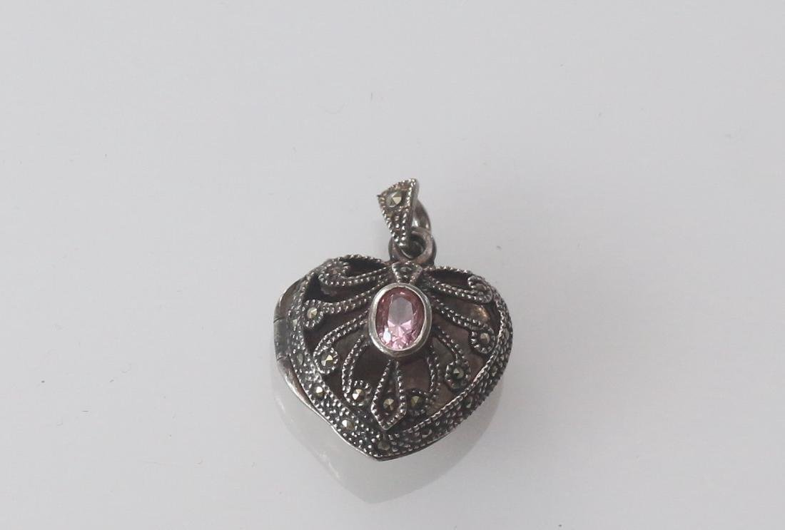 MARCOSITE AND STERLING SILVER HEART LOCKET