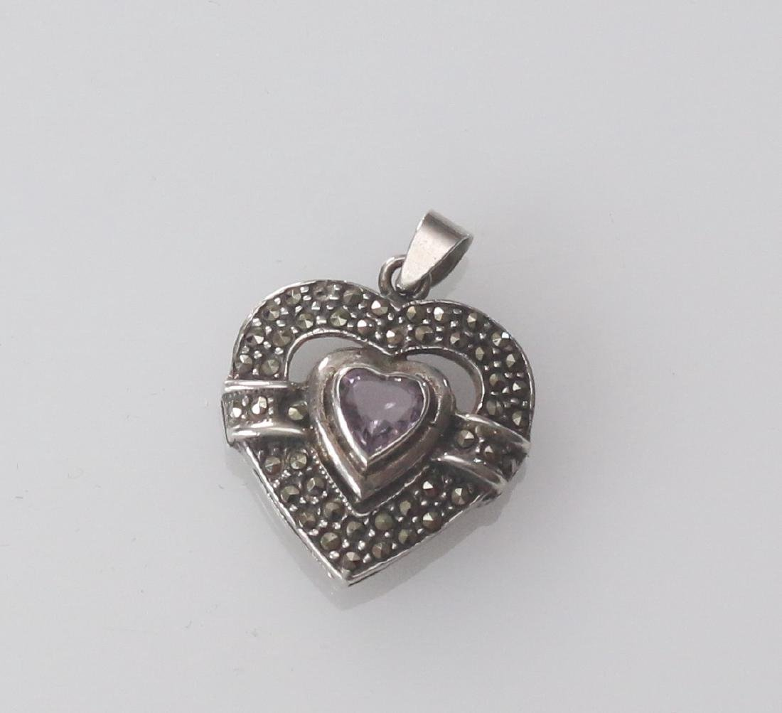 MARCOSITE AND STERLING SILVER HEART