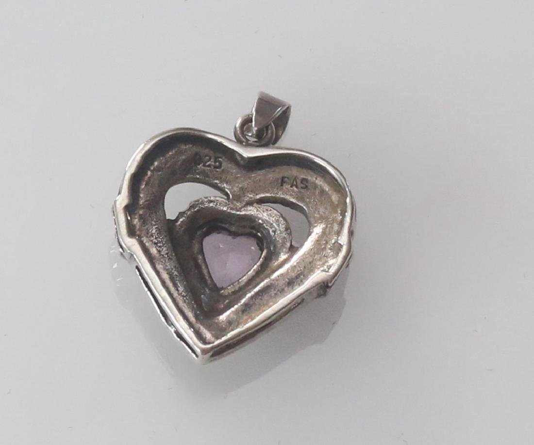 MARCOSITE AND STERLING SILVER HEART - 2