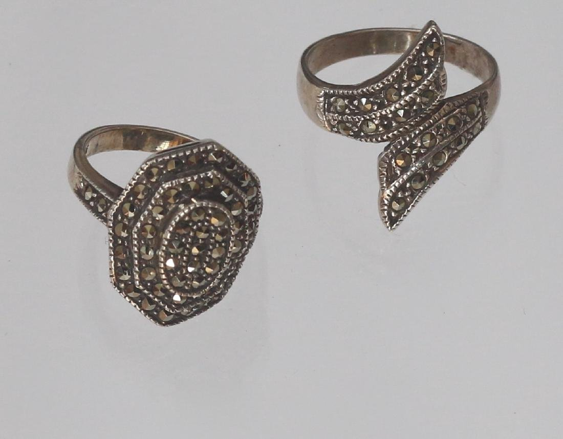 (2) MARCOSITE AND STERLING SILVER RINGS