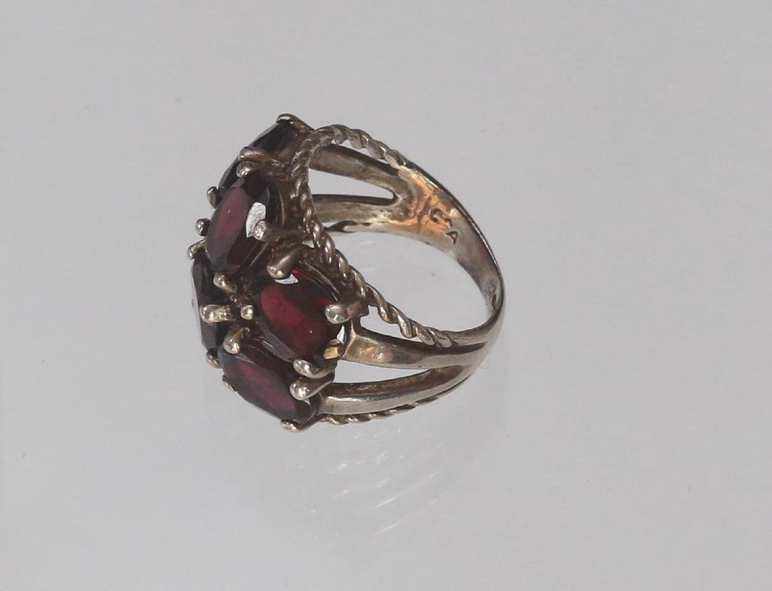 STERLING SILVER AND GARNET RING - 2