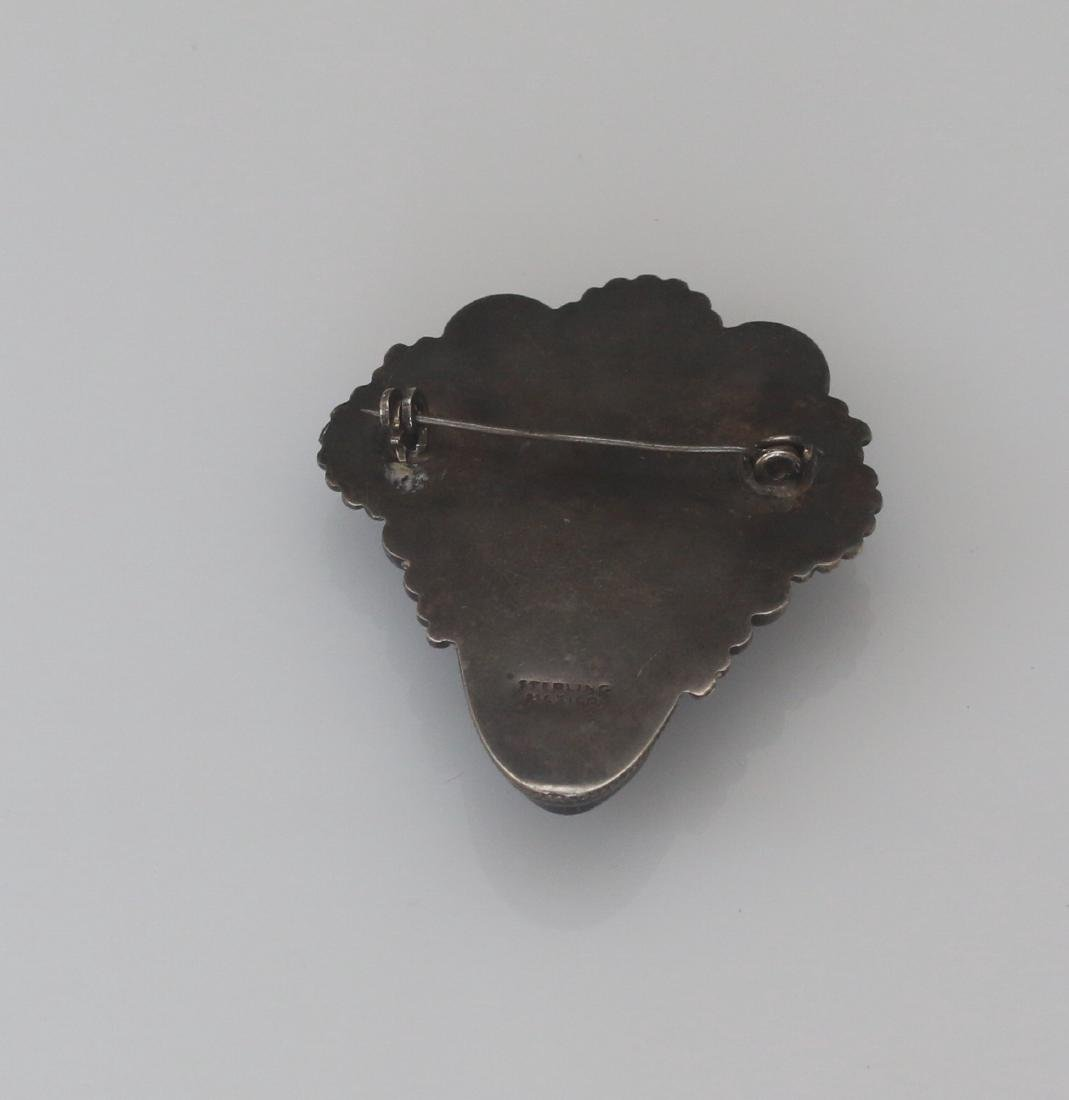 VINTAGE STERLING MEXICAN BROACH - 2