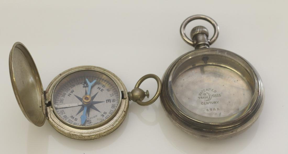 CENTURY TRAIN POCKET WATCH CASE AND COMPASS
