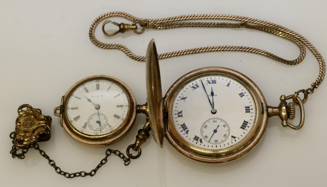 (2) ELGIN POCKET WATCHES AND CHAINS
