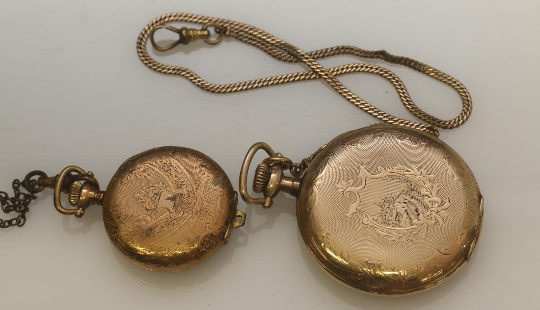 (2) ELGIN POCKET WATCHES AND CHAINS - 2
