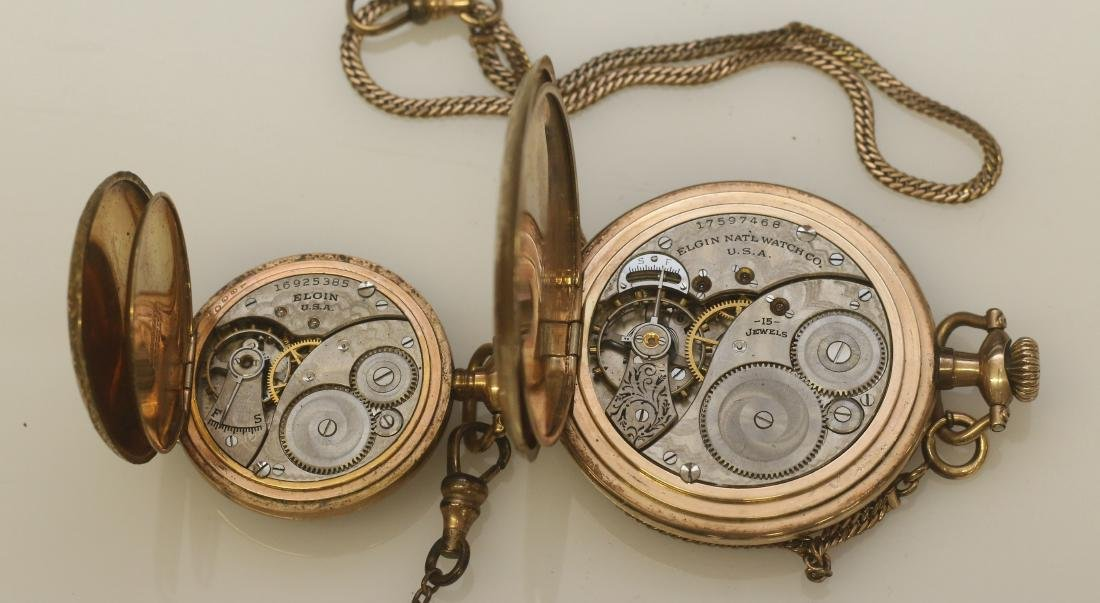 (2) ELGIN POCKET WATCHES AND CHAINS - 3