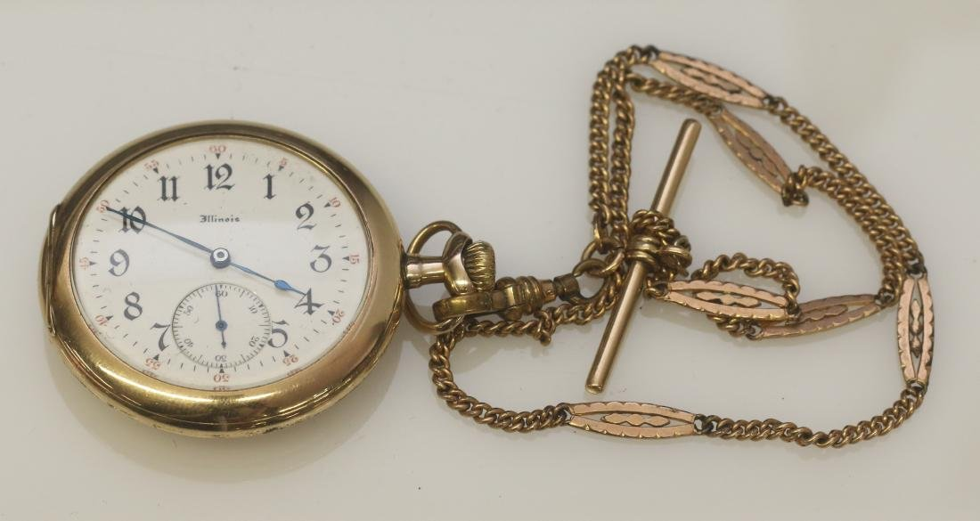 ILLINOIS POCKET WATCH AND CHAIN
